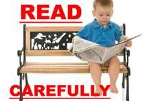 Read carefully