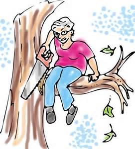 Self Refuting Tree Sawing Analogy